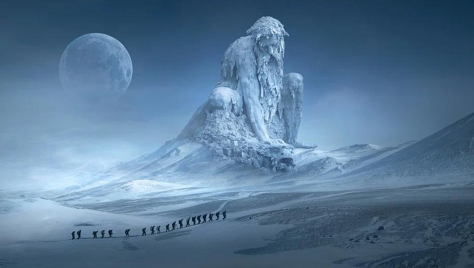 Jaźń i symbol mandali - księżyc i postać na niebie