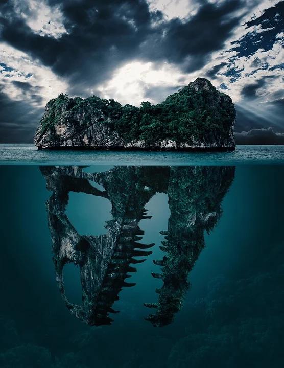 Jaźń i symbol mandali - skała na wodzie