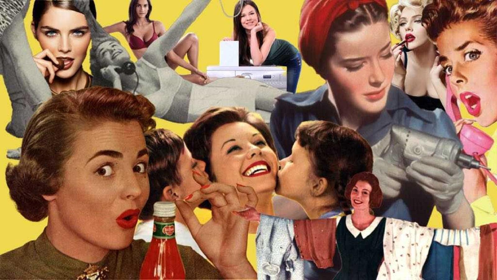 Stereotypowy portret kobiety w reklamie.